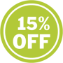 15 PERCENT OFF GREEN